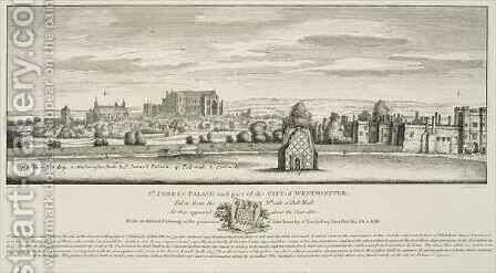 St Jamess Palace and part of the City of Westminster from the North Side of Pall Mall in 1660 by (after) Hollar, Wenceslaus - Reproduction Oil Painting