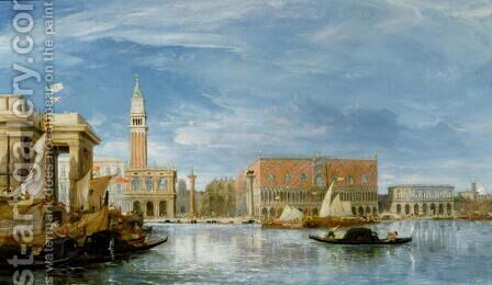 View of the Molo and the Palazzo Ducale in Venice by James Holland - Reproduction Oil Painting