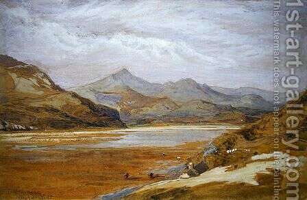 Traeth Mawr Marioneth North Wales by James Holland - Reproduction Oil Painting