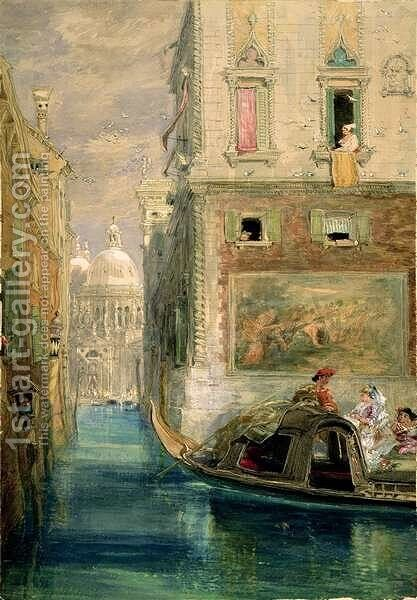 The Gondola Venice with Santa Maria della Salute in the Distance by James Holland - Reproduction Oil Painting
