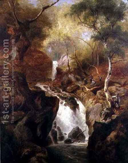 Waterfall through a Woodland by Edward Henry Holder - Reproduction Oil Painting