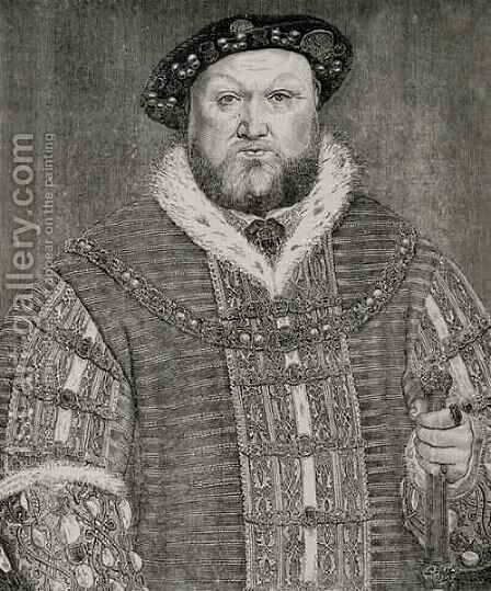 Henry VIII 1491-1547 by (after) Holbein the Younger, Hans - Reproduction Oil Painting