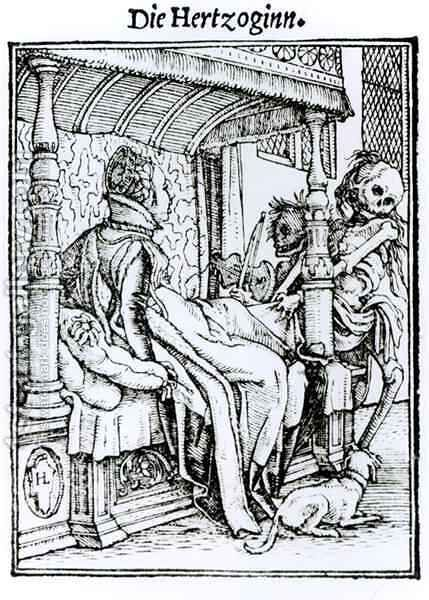 Death and the Lady by (after) Holbein the Younger, Hans - Reproduction Oil Painting