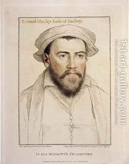 Edward Stanley Earle of Darby 1508-1572 by (after) Holbein the Younger, Hans - Reproduction Oil Painting