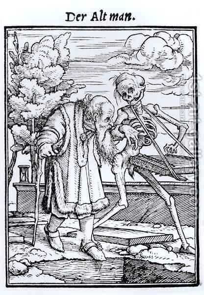 Death and the Old Man by (after) Holbein the Younger, Hans - Reproduction Oil Painting