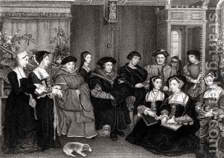 The Family of Thomas More 1478-1535 by (after) Holbein the Younger, Hans - Reproduction Oil Painting