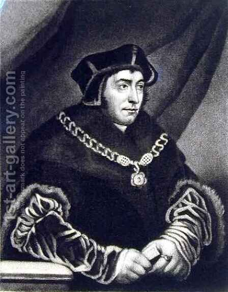Sir Thomas More 1478-1535 by (after) Holbein the Younger, Hans - Reproduction Oil Painting