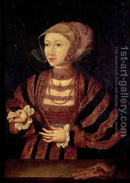 Portrait of Anne of Cleves 1515-57 Fourth wife of Henry VIII of England by (after) Holbein the Younger, Hans - Reproduction Oil Painting