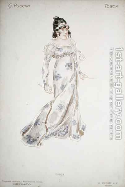 Costume design in Tosca by Giacomo Puccini by Adolf Hohenstein - Reproduction Oil Painting