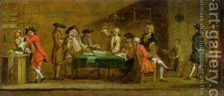 Figures in a Tavern or Coffee House by (attr. to) Hogarth, William - Reproduction Oil Painting