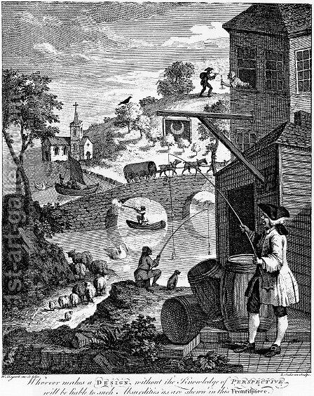 The importance of knowing perspective by (attr. to) Hogarth, William - Reproduction Oil Painting
