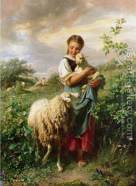The Shepherdess by Johann Baptist Hofner - Reproduction Oil Painting