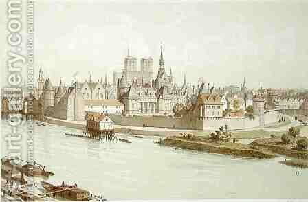 Ile de la Cite in 1530 by (after) Hoffbauer, Theodor Josef Hubert - Reproduction Oil Painting