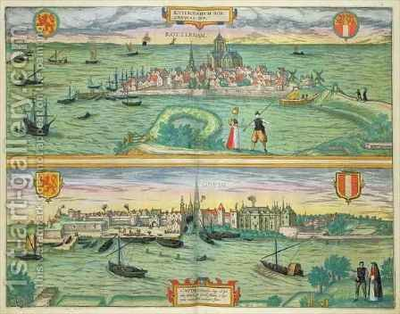 Map of Rotterdam and Gouda from Civitates Orbis Terrarum by (after) Hoefnagel, Joris - Reproduction Oil Painting