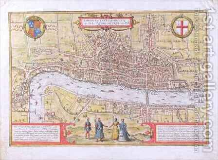 Map of London from Civitates Orbis Terrarum by (after) Hoefnagel, Joris - Reproduction Oil Painting