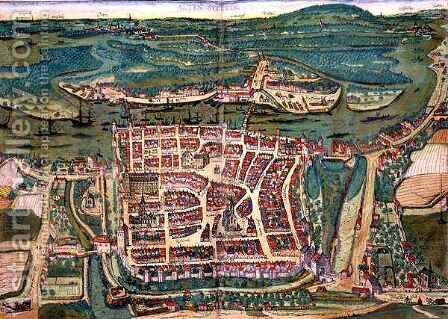 Map of Altenstadt from Civitates Orbis Terrarum by (after) Hoefnagel, Joris - Reproduction Oil Painting
