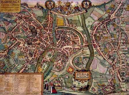 Map of Bamberg from Civitates Orbis Terrarum by (after) Hoefnagel, Joris - Reproduction Oil Painting