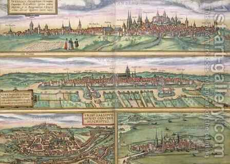 Map of Nuremberg Ulm and Saltzburg from Civitates Orbis Terrarum by (after) Hoefnagel, Joris - Reproduction Oil Painting