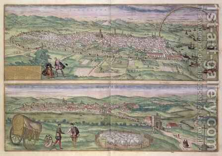 Map of Barcelona from Civitates Orbis Terrarum by (after) Hoefnagel, Joris - Reproduction Oil Painting