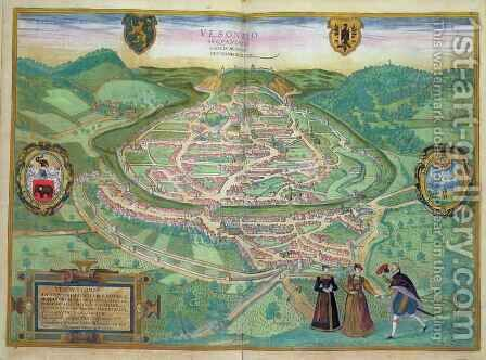 Map of Besancon from Civitates Orbis Terrarum by (after) Hoefnagel, Joris - Reproduction Oil Painting
