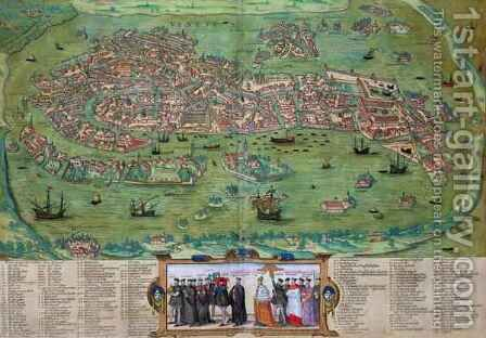 Map of Venice from Civitates Orbis Terrarum by (after) Hoefnagel, Joris - Reproduction Oil Painting