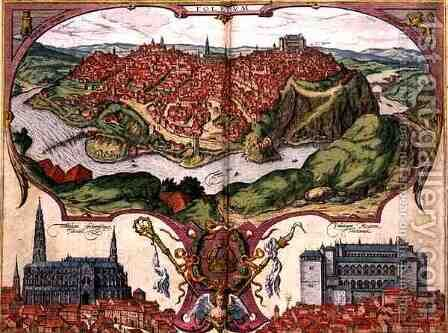 Map of Toledo from Civitates Orbis Terrarum by (after) Hoefnagel, Joris - Reproduction Oil Painting