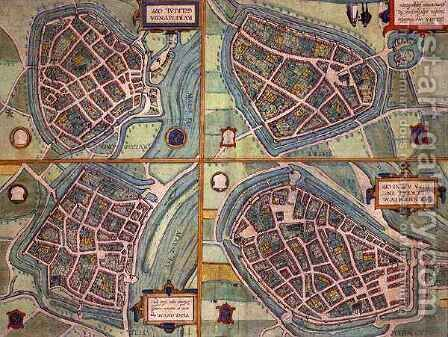Map of Arnhem Velmo Gelre and Ruerm from Civitates Orbis Terrarum by (after) Hoefnagel, Joris - Reproduction Oil Painting