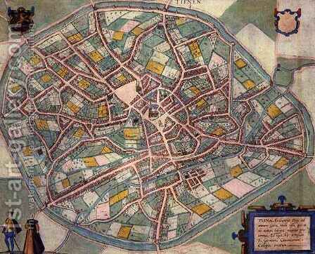 Map of Tienen from Civitates Orbis Terrarum by (after) Hoefnagel, Joris - Reproduction Oil Painting