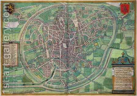 Town Plan of Brussels from Civitates Orbis Terrarum by (after) Hoefnagel, Joris - Reproduction Oil Painting