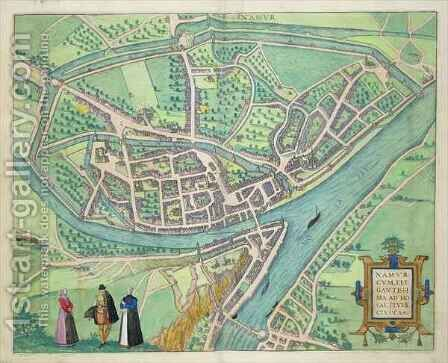 Map of Namur from Civitates Orbis Terrarum by (after) Hoefnagel, Joris - Reproduction Oil Painting