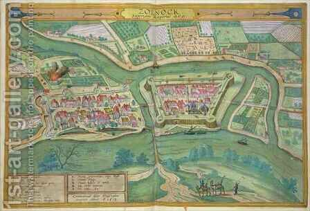 Map of Szolnok from Civitates Orbis Terrarum by (after) Hoefnagel, Joris - Reproduction Oil Painting