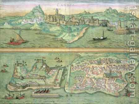Map of Candia and Corfu from Civitates Orbis Terrarum by (after) Hoefnagel, Joris - Reproduction Oil Painting