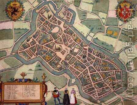 Map of Lille from Civitates Orbis Terrarum by (after) Hoefnagel, Joris - Reproduction Oil Painting