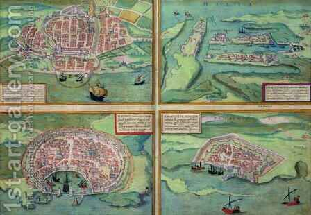 Map of Calais Malta Rhodes and Famagusta from Civitates Orbis Terrarum by (after) Hoefnagel, Joris - Reproduction Oil Painting