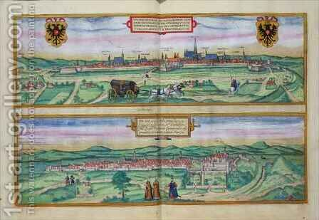 Town Plan of Vienna and Buda from Civitates Orbis Terrarum by (after) Hoefnagel, Joris - Reproduction Oil Painting