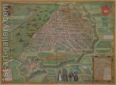 Map of Antwerp from Civitates Orbis Terrarum by (after) Hoefnagel, Joris - Reproduction Oil Painting
