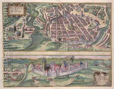 Map of Poznan and Gruczno from Civitates Orbis Terrarum by (after) Hoefnagel, Joris - Reproduction Oil Painting