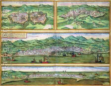 Map of Parma Siena Palermo and Drepanum from Civitates Orbis Terrarum by (after) Hoefnagel, Joris - Reproduction Oil Painting