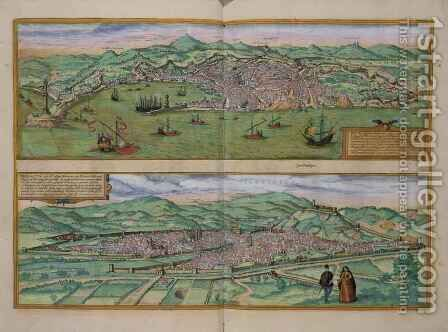 Map of Genoa and Florence from Civitates Orbis Terrarum by (after) Hoefnagel, Joris - Reproduction Oil Painting