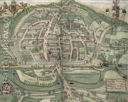 Map of Exeter from Civitates Orbis Terrarum by (after) Hoefnagel, Joris - Reproduction Oil Painting