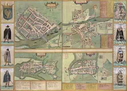Maps of Galway Dublin Limerick and Cork from Civitates Orbis Terrarum by (after) Hoefnagel, Joris - Reproduction Oil Painting