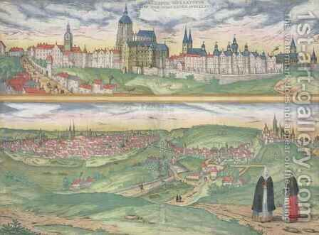 Map of Prague from Civitates Orbis Terrarum by (after) Hoefnagel, Joris - Reproduction Oil Painting