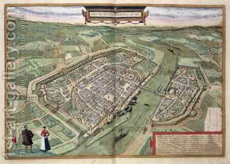 Map of Frankfurt from Civitates Orbis Terrarum by (after) Hoefnagel, Joris - Reproduction Oil Painting