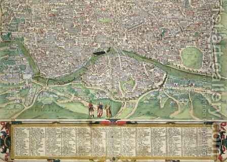 Map of Rome from Civitates Orbis Terrarum by (after) Hoefnagel, Joris - Reproduction Oil Painting
