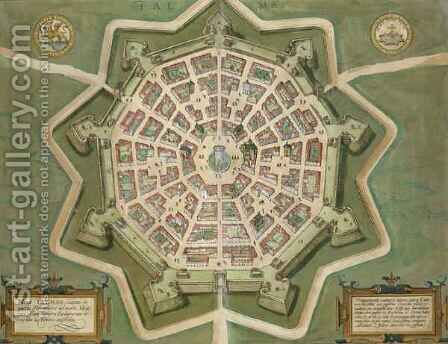 Map of Palma from Civitates Orbis Terrarum by (after) Hoefnagel, Joris - Reproduction Oil Painting