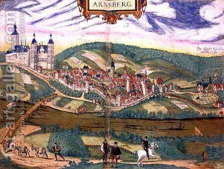 Map of Arnsberg form Civitates Orbis Terrarum by (after) Hoefnagel, Joris - Reproduction Oil Painting
