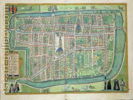 Map of Delft from Civitates Orbis Terrarum by (after) Hoefnagel, Joris - Reproduction Oil Painting