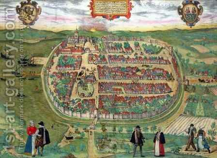 Map of Barth from Civitates Orbis Terrarum by (after) Hoefnagel, Joris - Reproduction Oil Painting