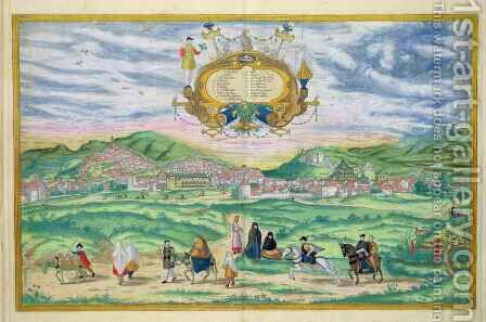 Map of Granada from Civitates Orbis Terrarum by (after) Hoefnagel, Joris - Reproduction Oil Painting