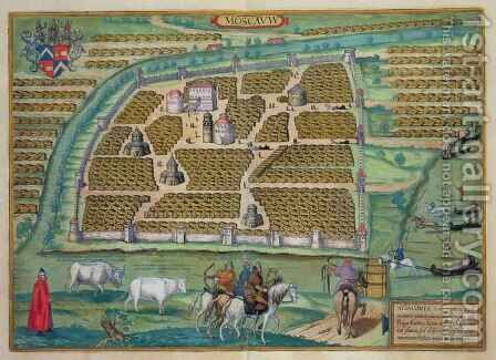 Map of Moscow from Civitates Orbis Terrarum by (after) Hoefnagel, Joris - Reproduction Oil Painting